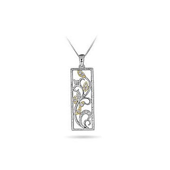 10K WY Diamond Framed Vine Pendant