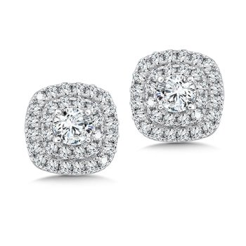 Diamond Double Halo Studs in14K White Gold with Platinum Post (1/2ct. tw.)