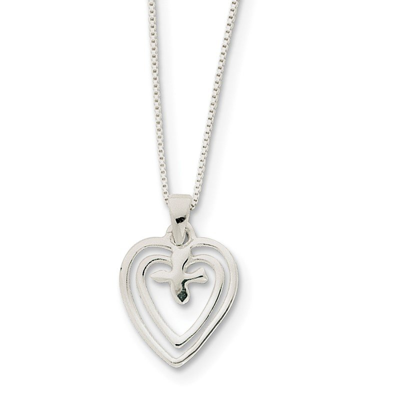 Quality Gold Sterling Silver Hearts w/Dove Necklace