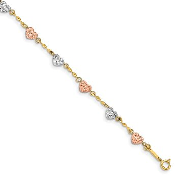 14k Tri-color Puff Heart Bracelet