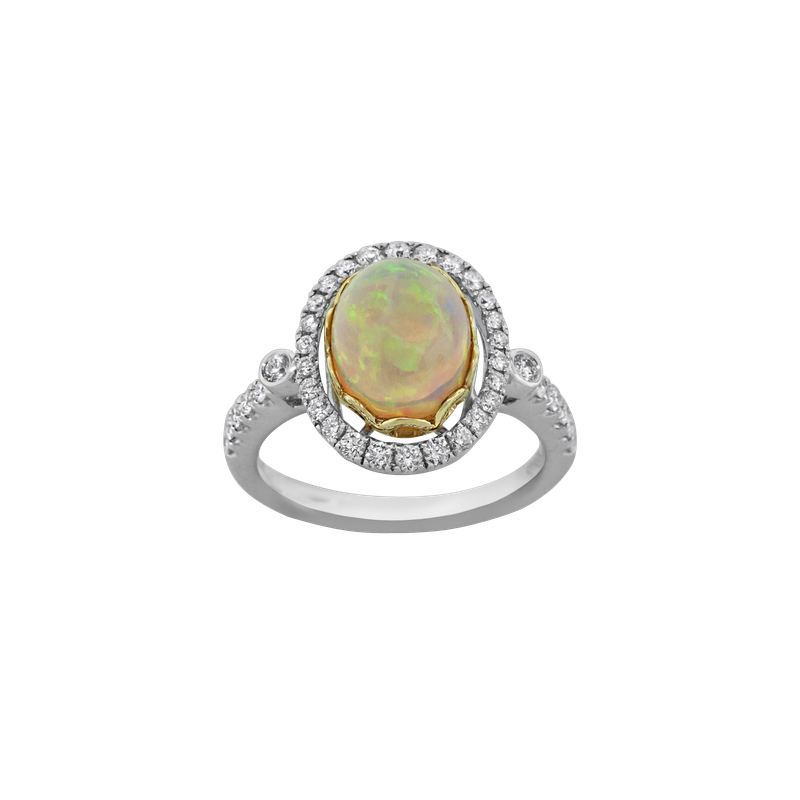 Spark Creations Opal & Diamond Ring