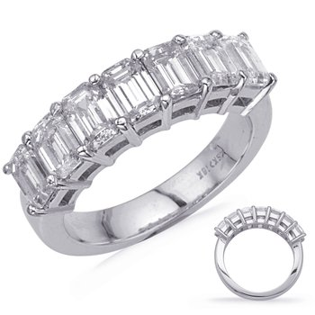 White Gold Emerald Cut Diamond Band