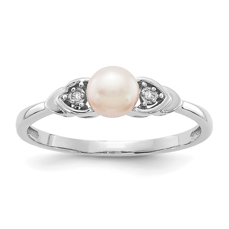 Quality Gold 14k White Gold FW Cultured Pearl and Diamond Ring