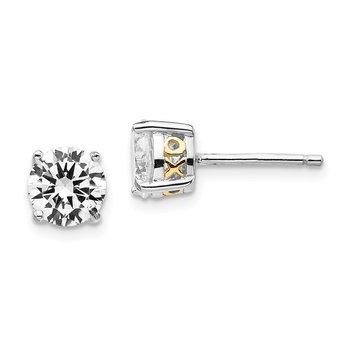Cheryl M Sterling Silver & Gold-plated X & O 6.5mm CZ Stud Earrings