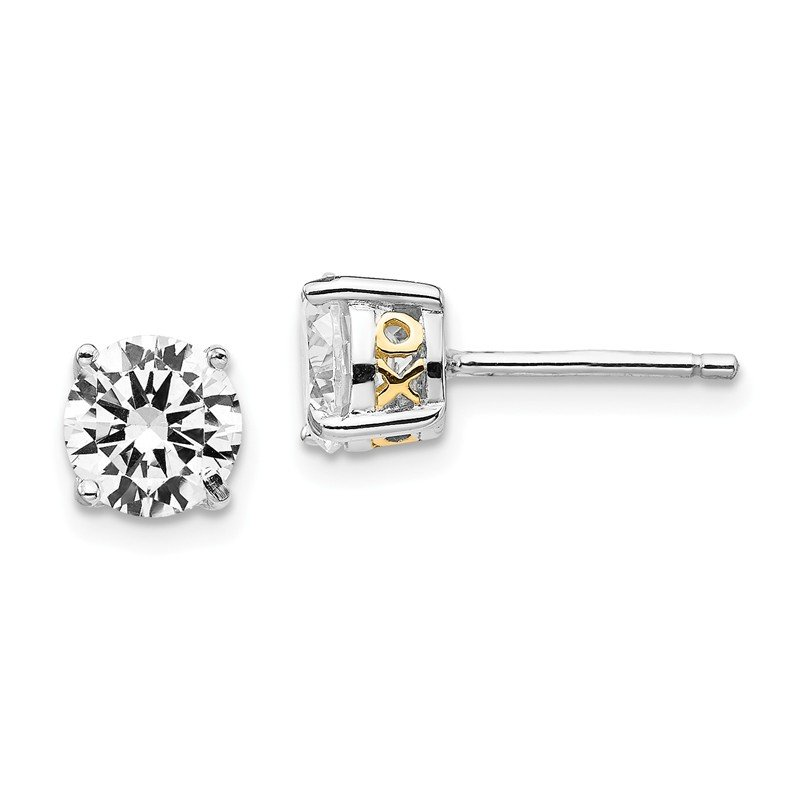 Cheryl M Cheryl M Sterling Silver & Gold-plated X & O 6.5mm CZ Stud Earrings