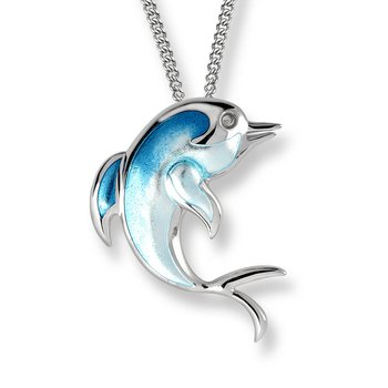 Turquoise Dolphin Necklace.Sterling Silver-White Sapphires
