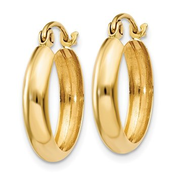 14k Polished 3.5mm Hoop Earrings