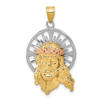 14K Tri-color Diamond-cut Christ Charm