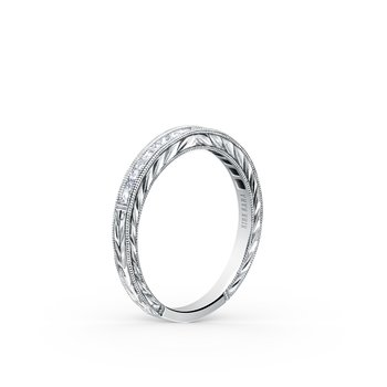 Elegant Engraved Diamond Wedding Band