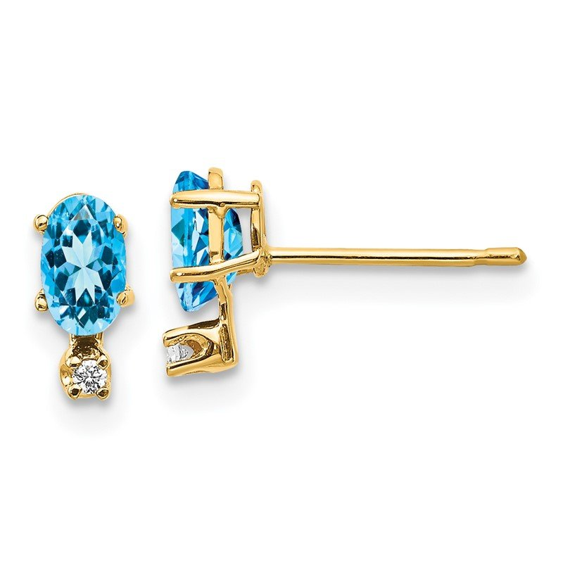 Quality Gold 14k Diamond & Blue Topaz Birthstone Earrings
