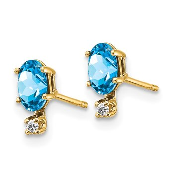 14k Diamond & Blue Topaz Birthstone Earrings