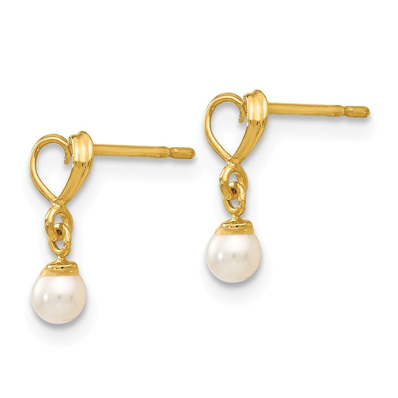 Quality Gold 14k Madi K FW Cultured Pearl Heart Dangle Post Earrings