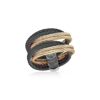 Carnation & Black Cable Entwine Ring