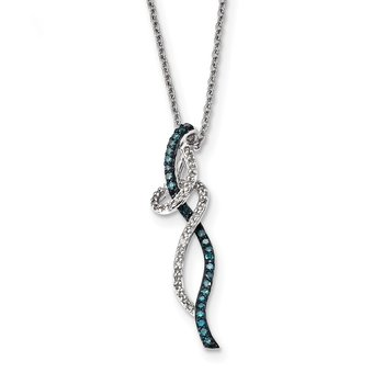 Sterling Silver Rhod Plated Swirl White & Blue Diamond Pendant Necklace