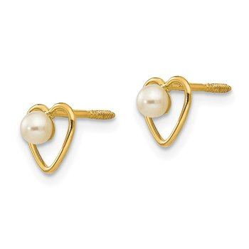 14k Madi K 3mm FW Cultured Pearl Birthstone Heart Earrings