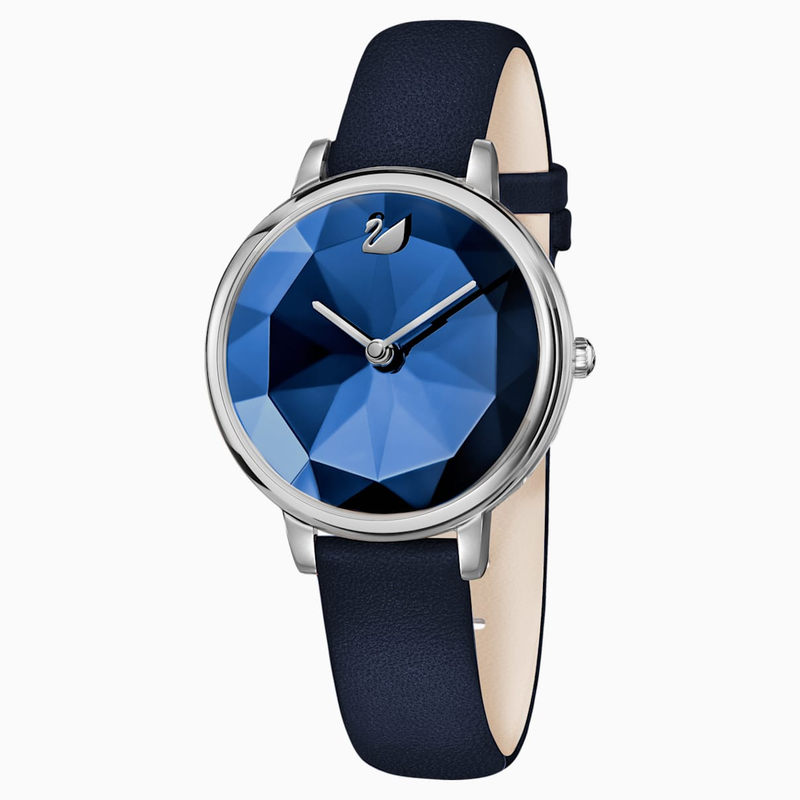 Swarovski Crystal Lake Watch, Leather strap, Blue, Stainless steel