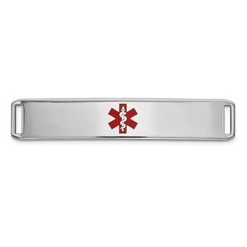 14K WG Epoxy Enameled Medical ID Ctr Plate # 819