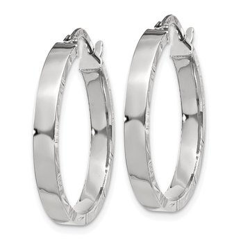 14K White Gold Diamond Cut Edge Medium 3mm Polished Hoop Earrings