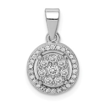 Sterling Silver Rhodium-plated Pave CZ Circles Pendant