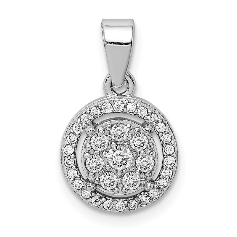 Quality Gold Sterling Silver Rhodium-plated Pave CZ Circles Pendant
