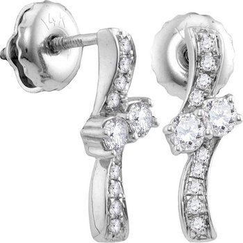 14kt White Gold Womens Round Diamond 2-stone Hearts Together Screwback Stud Earrings 1/4 Cttw