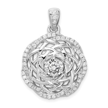 Sterling Silver Rhodium-plated 6mm CZ Center Woven Pendant