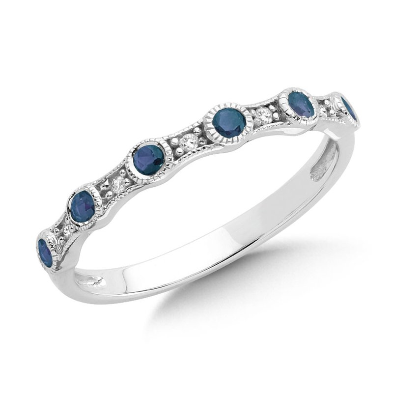 SDC Creations Pave and Bezel set Sapphire and Diamond Stackable Ring in 14k White Gold
