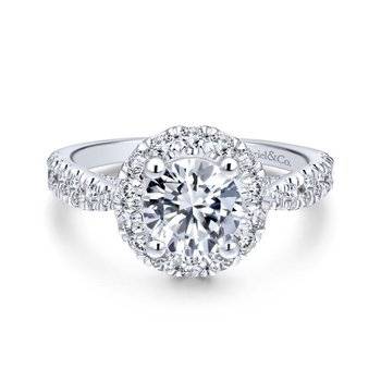 Round Oval Halo Engagement Ring