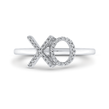 "10K White Gold Round White Diamond ""XO"" Fashion Ring (.12 cttw)"