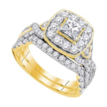 14kt Yellow Gold Womens Princess Diamond Bridal Wedding Engagement Ring Band Set 2.00 Cttw