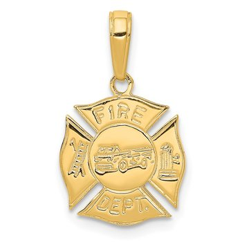14k FIRE DEPT Shield Pendant