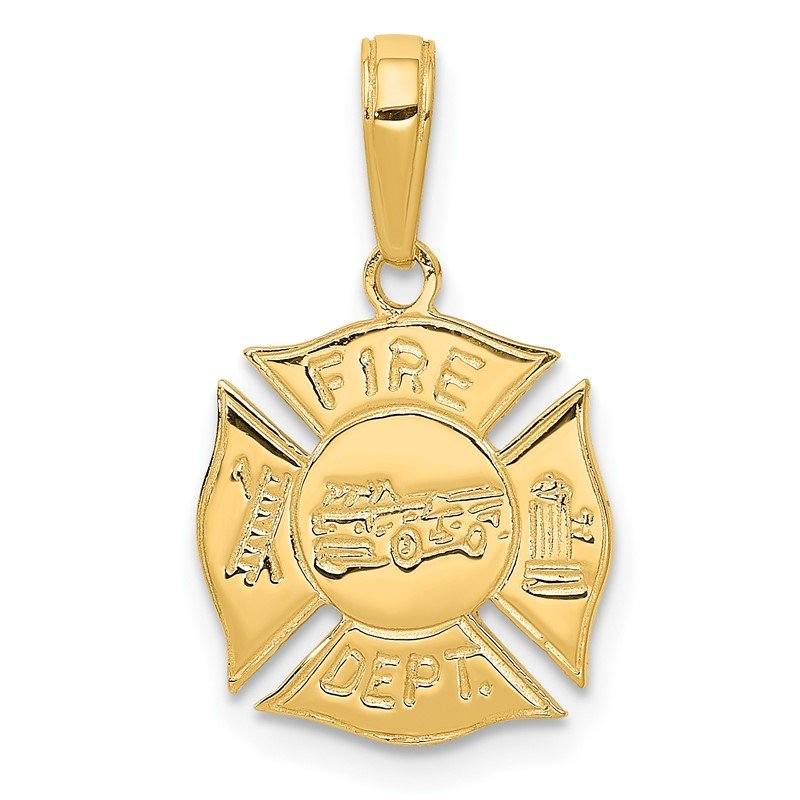 Quality Gold 14k FIRE DEPT Shield Pendant