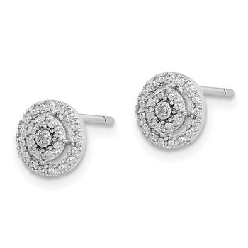 Sterling Silver Rhodium plated Diamond Post Earrings