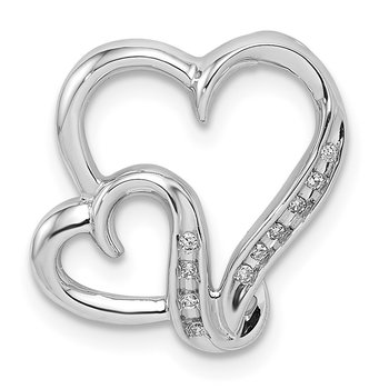 Sterling Silver Rhodium Plated Diamond Double Heart Pendant