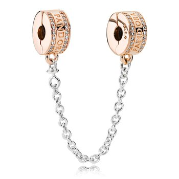 PANDORA Insignia Safety Chain, PANDORA Rose™ & Clear CZ