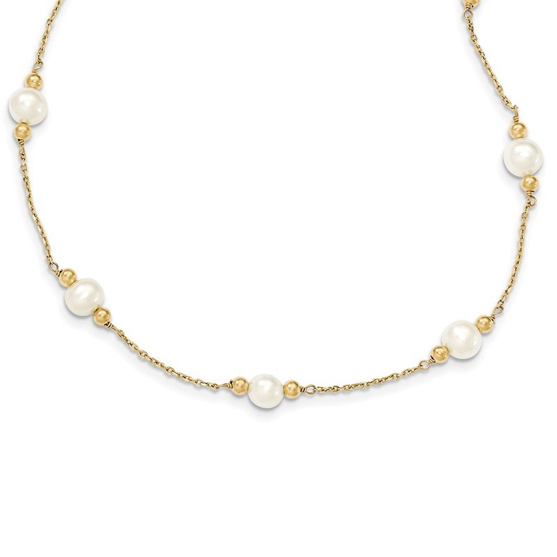 Quality Gold 14K 5-6mm White Near Round FW Cultured Pearl Bead 12-station Necklace