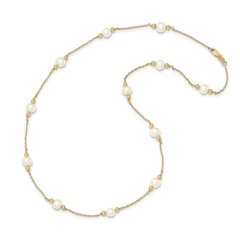 14K 5-6mm White Near Round FW Cultured Pearl Bead 12-station Necklace