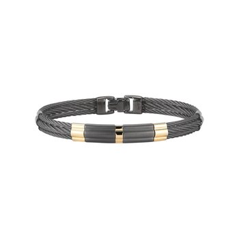 Black Cable Bracelet with Large Steel & 18kt Yellow Gold Station