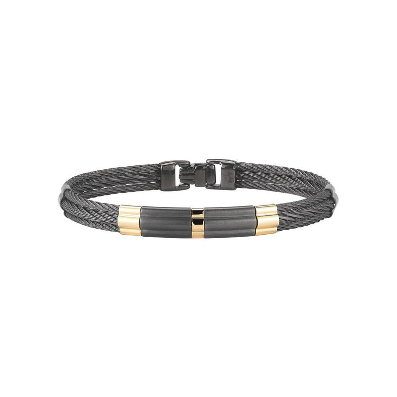 ALOR Black Cable Bracelet with Large Steel & 18kt Yellow Gold Station