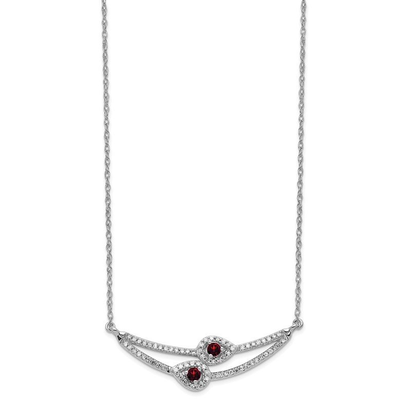 J.F. Kruse Signature Collection 14k White Gold Diamond & Garnet Necklace