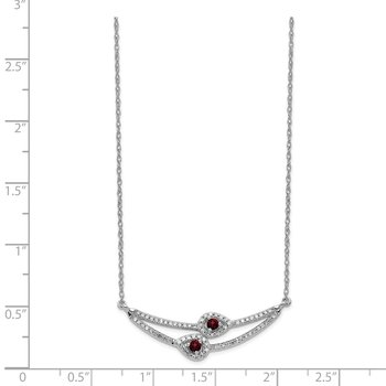 14k White Gold Diamond & Garnet Necklace