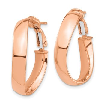14k Rose Gold High Polished 5mm Wavy Omega Back Hoop Earrings