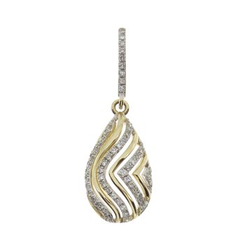 14k Yellow Gold Teardrop Diamond Pendant