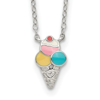 Sterling Silver 16+2in Extension Enameled Ice Cream Cone Necklace