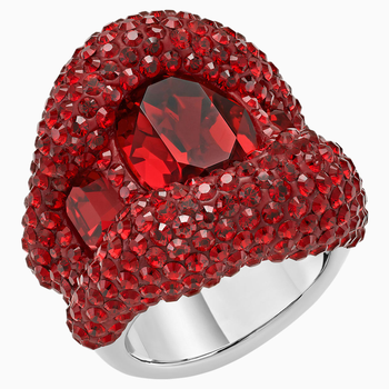 Tigris Cocktail Ring, Red, Palladium plated