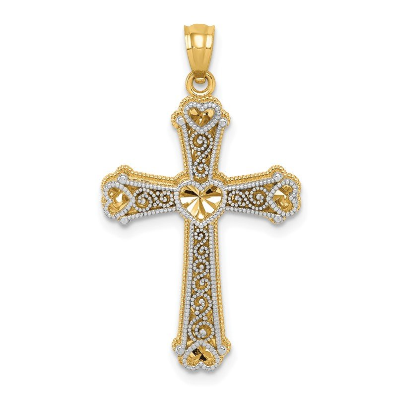 Quality Gold 14k Two-tone Hearts Cross Pendant