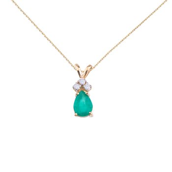 14K Yellow Gold Pear Shaped Emerald and .05 ct Diamond Pendant