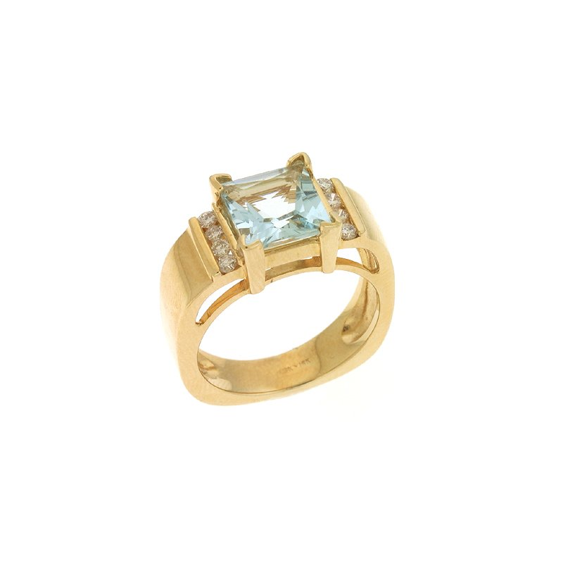 S. Kashi  & Sons Aquamarine./diamond Ring
