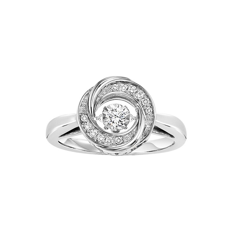 Rhythm of Love Silver Diamond ROL Ring 1/10 ctw