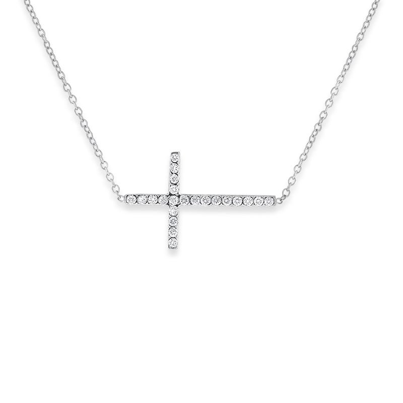 KC Designs Diamond Sideways Cross Necklace in 14k White Gold with 22 Diamonds weighing .19ct tw.